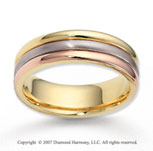 14k Tri Tone Gold Elegant Embrace Carved Wedding Band
