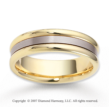 14k Two Tone Gold Great Love Classy Carved Wedding Band