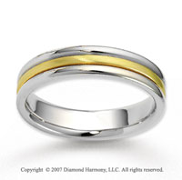 14k Two Tone Gold Elegant Embrace Carved Wedding Band