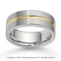 14k Two Tone Gold Stylish True Love Carved Wedding Band