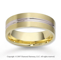 14k Two Tone Gold Classic True Love Carved Wedding Band