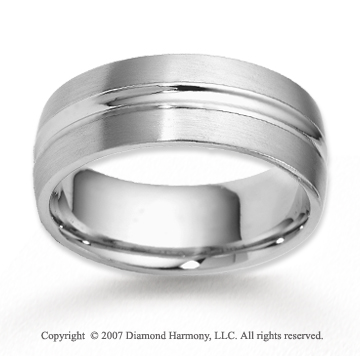14k White Gold Classic True Love Carved Wedding Band