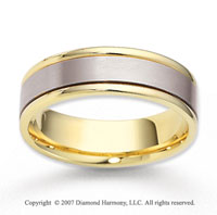 14k Two Tone Gold Elegant Strip Carved Wedding Band