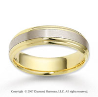 14k Two Tone Gold Stylish Strip Carved Wedding Band