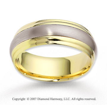 14k Two Tone Gold Fashionable Strip Carved Wedding Band