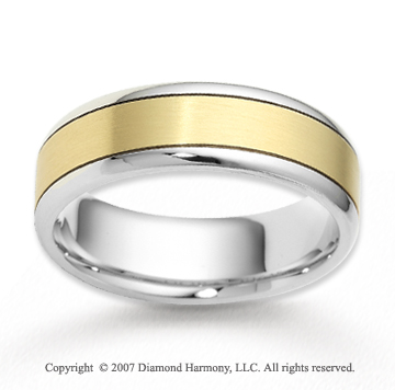 14k Two Tone Gold Pure Love Fine Carved Wedding Band
