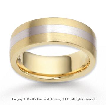 14k Two Tone Gold Perfe Carat Elegance Fine Carved Wedding Band