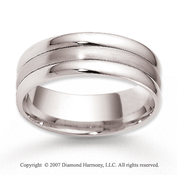 14k White Gold Forever Love Stylish Carved Wedding Band