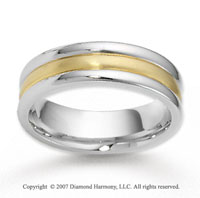 14k Two Tone Gold Great Love Fine Carved Wedding Band