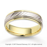 14k Two Tone Gold Elegant Milgrain Carved Wedding Band