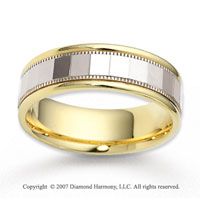 14k Two Tone Gold Milgrain Stylish Carved Wedding Band