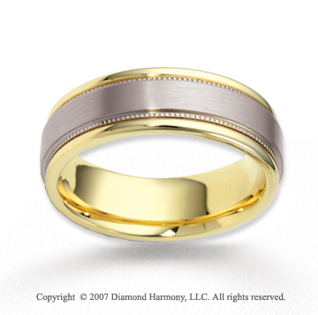 14k Two Tone Gold Smooth Milgrain Carved Wedding Band