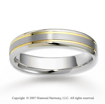 14k Two Tone Gold Elegant Fashion Carved Wedding Band