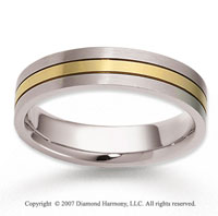 14k Two Tone Gold Sleek Harmony Carved Wedding Band