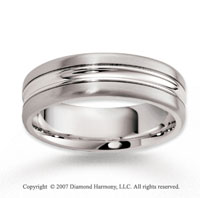 14k White Gold Smooth Perfe Caration Carved Wedding Bland