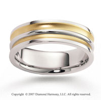14k Two Tone Gold Fine Eternity Carved Wedding Band