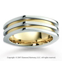 14k Two Tone Gold Unique Elegance Carved Wedding Band