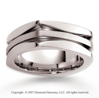 14k White Gold Unique Elegance Carved Wedding Band