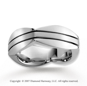 14k White Gold Unique Fashionable Carved Wedding Band