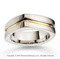 14k Two Tone Gold Unique Fashion Carved Wedding Band
