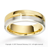 14k Two Tone Gold Great Elegance Smooth Wedding Band
