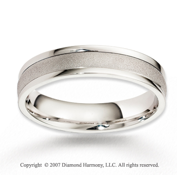 14k White Gold Perfe Carat Elegance Carved Wedding Band