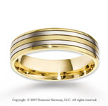 14k Two Tone Gold Two Strips Stylish Fine Wedding Band