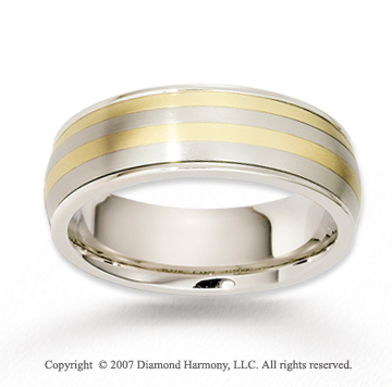 14k Two Tone Gold Graceful Love Carved Wedding Band