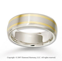 14k Two Tone Gold Double Elegant Strips Wedding Band