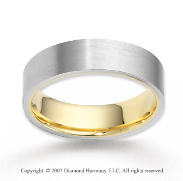 14k Two Tone Gold Fashion Sleek Carved Wedding Band
