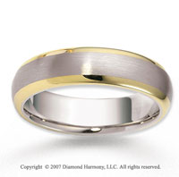 14k Two Tone Gold Finest Sleek Carved Wedding Band