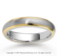 14k Two Tone Gold Graceful Class Carved Wedding Band
