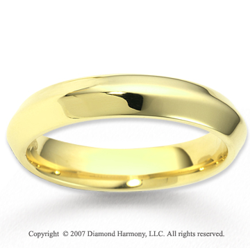 14k Yellow Gold Graceful Sleek Carved Wedding Band