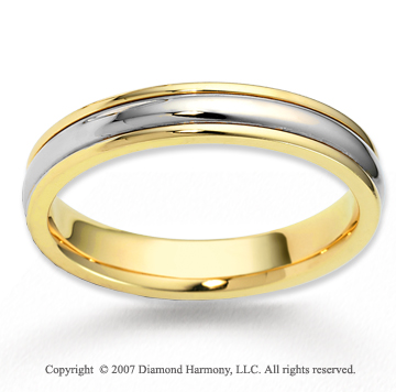 14k Two Tone Gold Pure Love Grand Carved Wedding Band