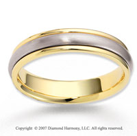 14k Two Tone Gold Finest Carved Wedding Band