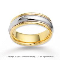 14k Two Tone Gold Grand Destiny Carved Wedding Band
