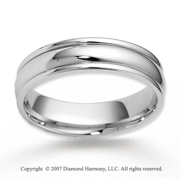 14k White Gold Shiny Smooth Fashionable Wedding Band