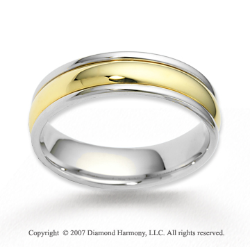 14k Two Tone Gold Shiny Smooth Fashionable Wedding Band