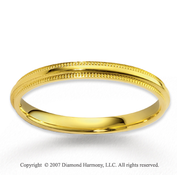 14k Yellow Gold Great Love Milgrain Classy Wedding Band
