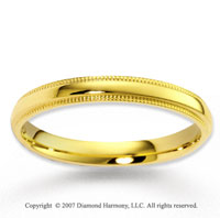 14k Yellow Gold Great Love Milgrain Fine Wedding Band