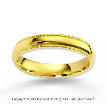 14k Yellow Gold Smooth Elegant Milgrain Wedding Band