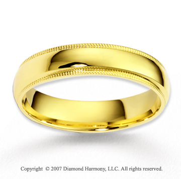 14k Yellow Gold Sleek Elegant Milgrain Wedding Band