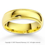 14k Yellow Gold Fine Love Forever Milgrain Wedding Band