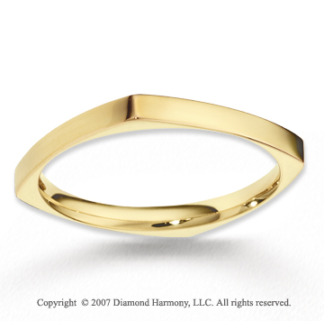 14k Yellow Gold Stylish Round Square Fine Wedding Band