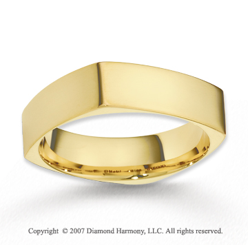 14k Yellow Gold Elegant Round Square Fine Wedding Band