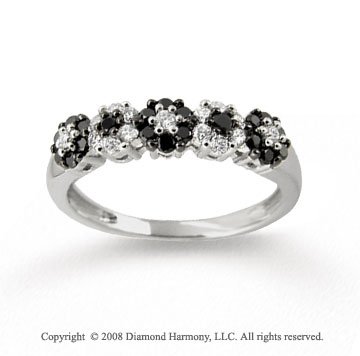 14k White Gold Black & White Diamond Flower Ring