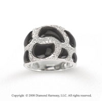 Bold 14k White Gold Diamond and Black Onyx Ring