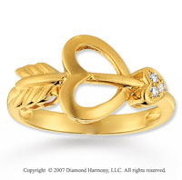 Diamond 14k Yellow Gold Heart N Arrow Ring