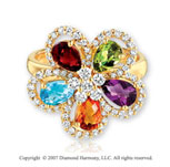 14k Yellow Gold Floral Multi Stone Diamond Fashion Ring