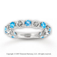14k White Gold Prong Blue Topaz Diamond Stackable Ring